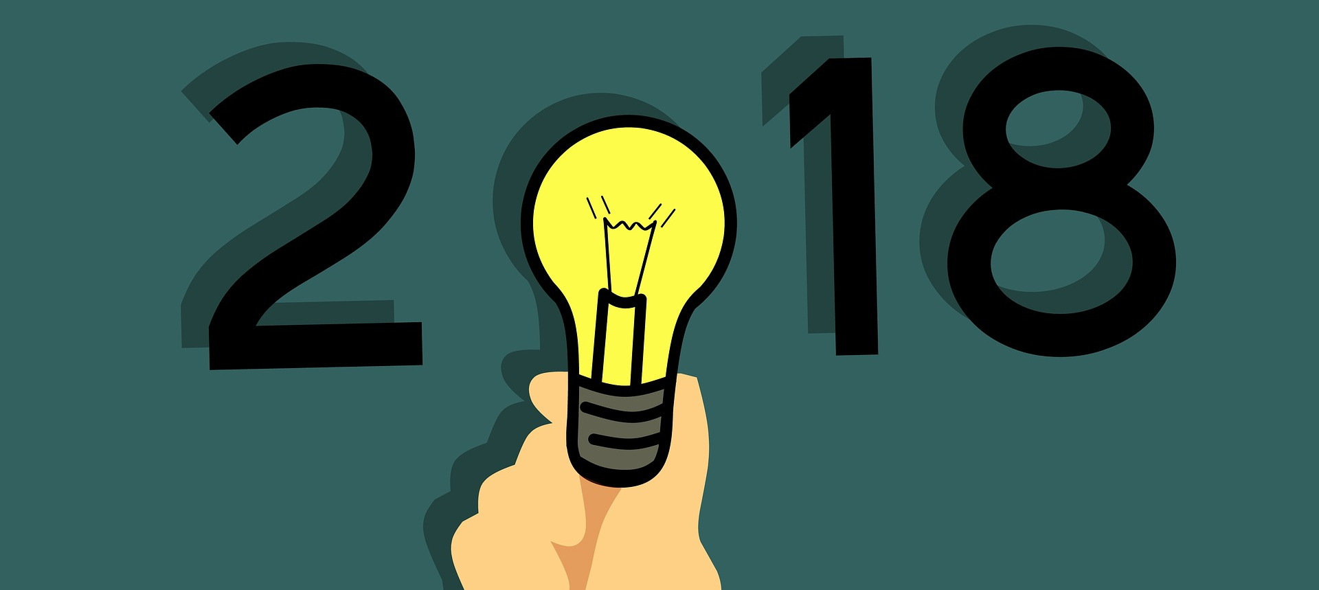 Vuosiluku 2018 ja lamppu