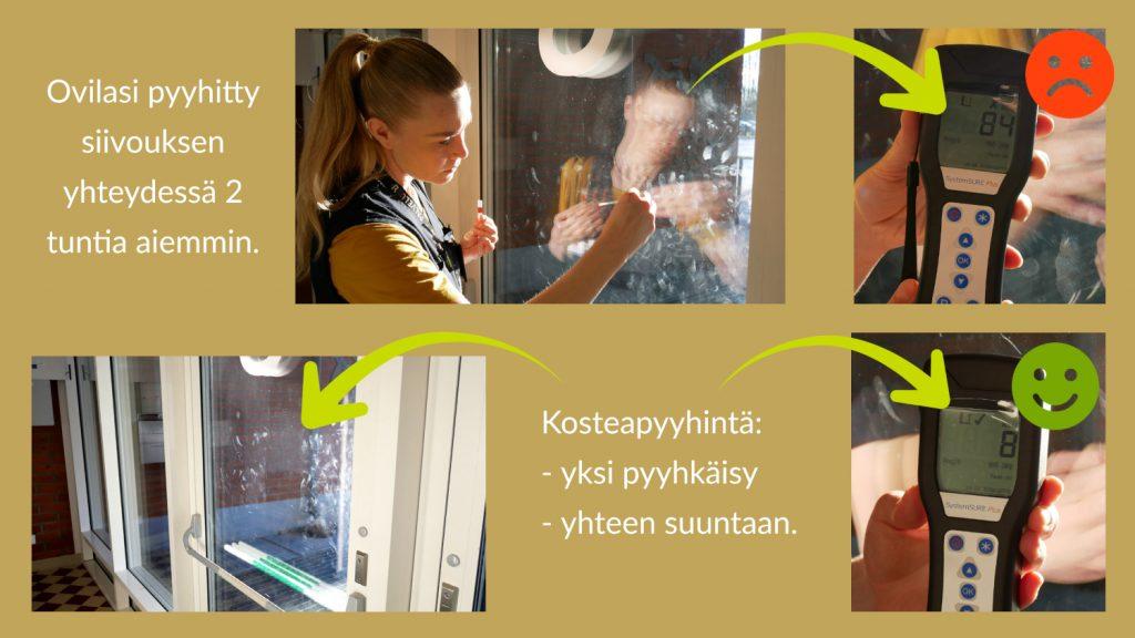 Kuvassa otetaan pintapuhtausnäyte ovilasista, näytetään sen tulos RLU 84, näytetään lasipintaa, josta osa on pyyhitty mikrokuitupyyhkeellä sekä pyyhinnän jälkeen otetun näytteen tulos, joka on RLU 8.